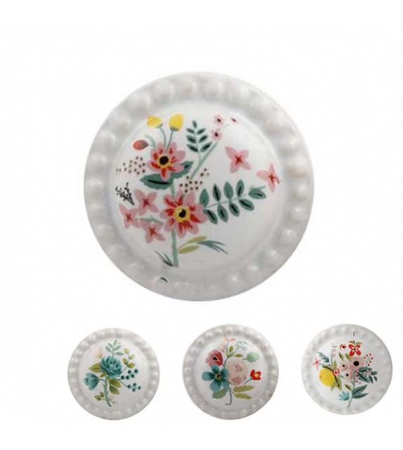 Bouton de meuble Bouquet de Fleur Aquarelle porcelaine dentelée - Boutons Mandarine