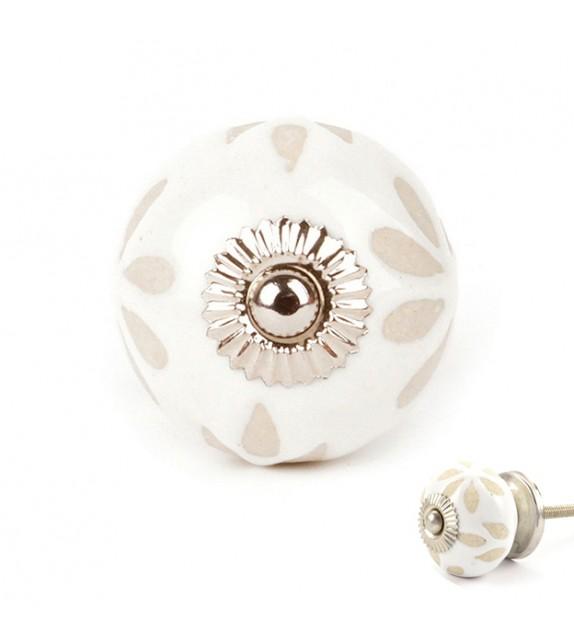 Bouton de meuble en porcelaine Fleur