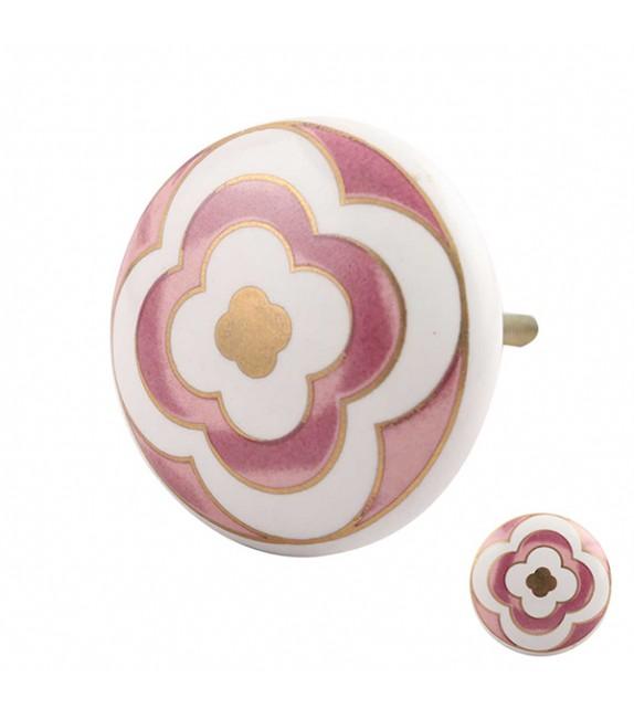 Bouton de meuble en porcelaine fleuri rose et or