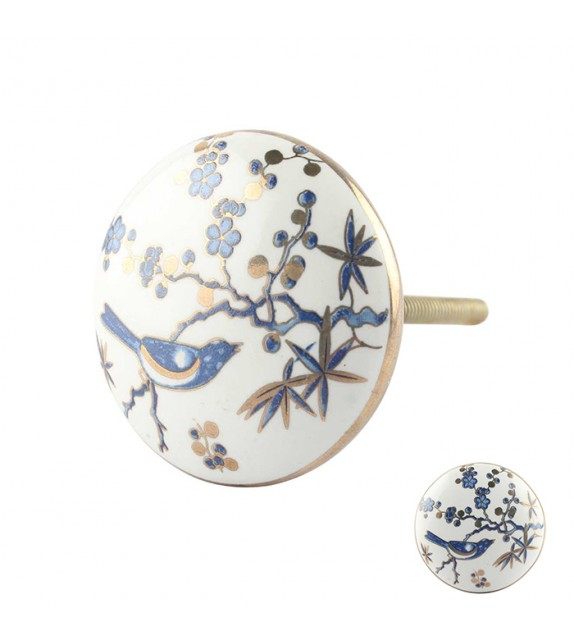 Bouton de meuble en porcelaine exotique oiseau bleu