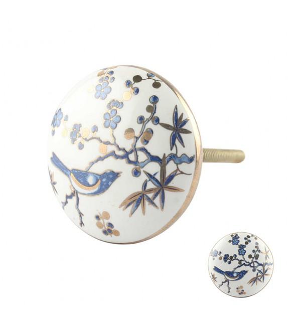 Bouton de meuble en porcelaine exotique oiseau bleu - Boutons Mandarine
