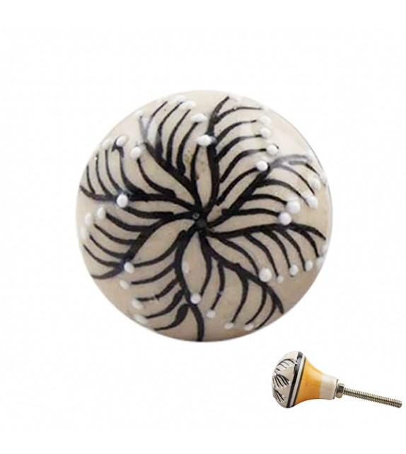 Bouton de meuble en porcelaine floral noir et jaune forme ampoule