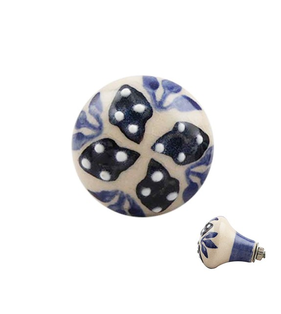 Bouton de meuble en porcelaine floral bleu marine forme ampoule