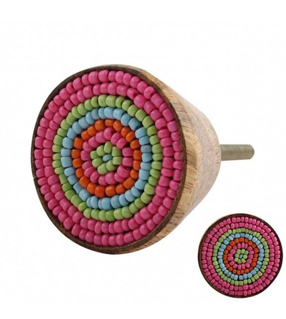 Bouton de meuble en perle et bois - Boutons Mandarine