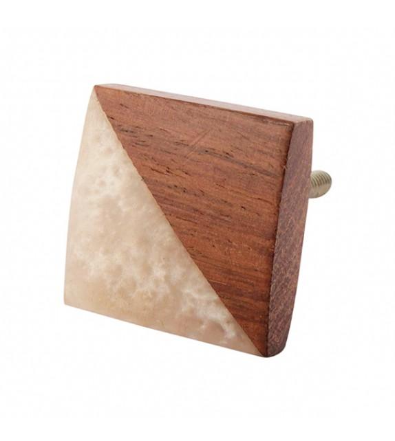 Bouton de meuble en bois carré Gilli
