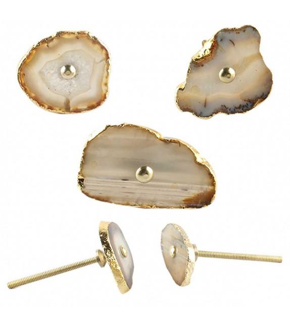 Gros bouton de meuble en pierre Agate - Boutons Mandarine