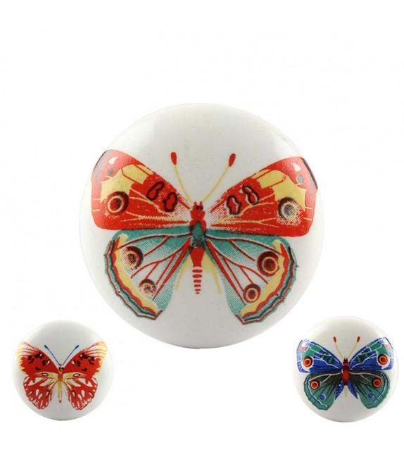 Bouton de meuble en porcelaine motif Papillon coloré