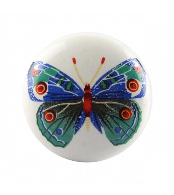 Bouton de meuble en porcelaine motif Papillon coloré - Boutons Mandarine