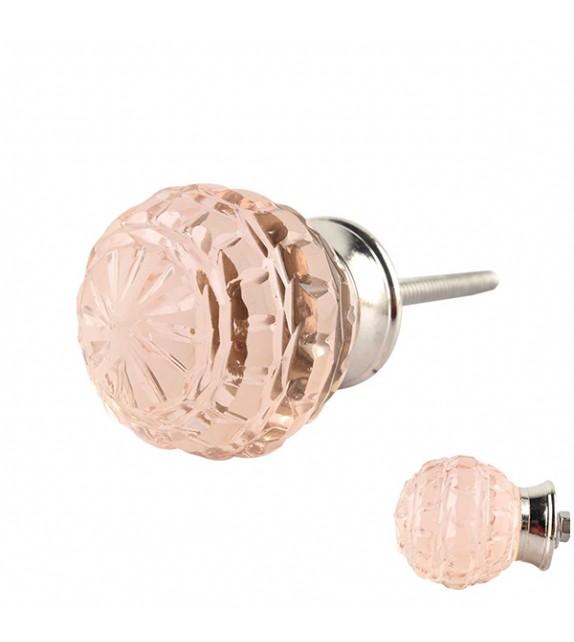 Bouton de meuble en verre rose sculpté - Maryse