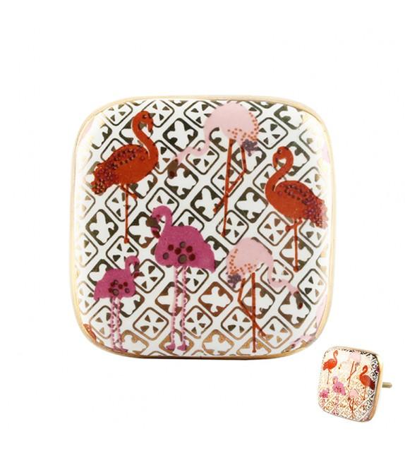 Gros bouton de meuble en porcelaine carré doré Flamant rose - Boutons Mandarine