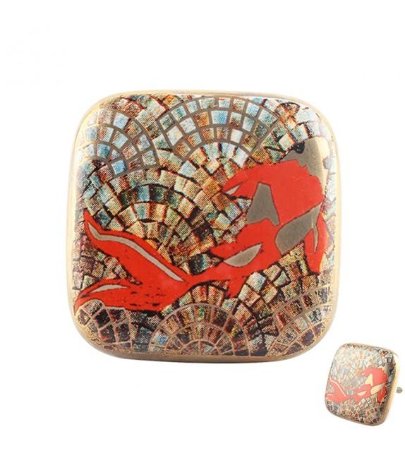 Gros bouton de meuble en porcelaine carré doré poisson Carpe Koi - Boutons Mandarine