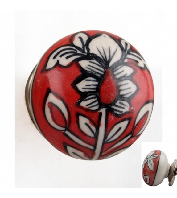 Bouton de meuble en porcelaine rouge motif fleur - Lise - Boutons Mandarine