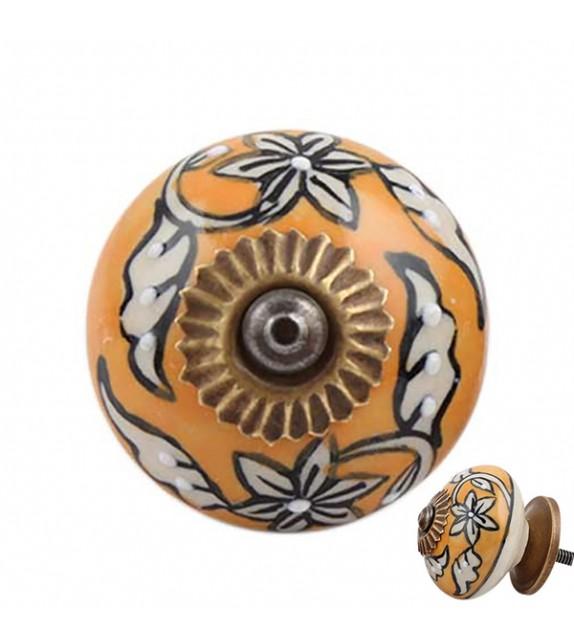 Bouton de meuble en porcelaine jaune à fleur - Manon - Boutons Mandarine