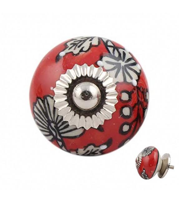Bouton de meuble en porcelaine rouge à fleur - Manon - Boutons Mandarine