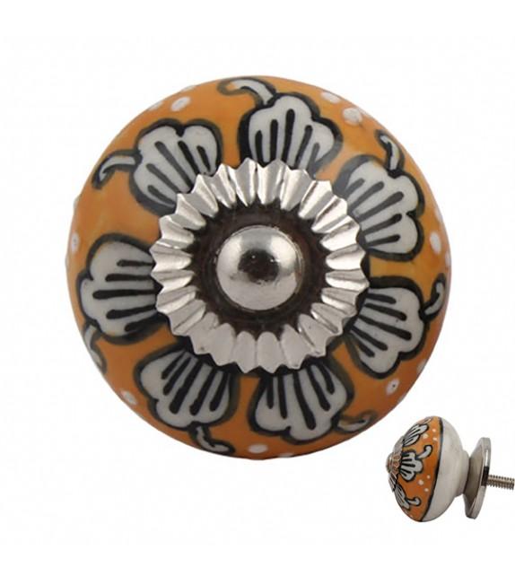 Bouton de meuble en porcelaine orange motif floral - Marjolaine - Boutons Mandarine