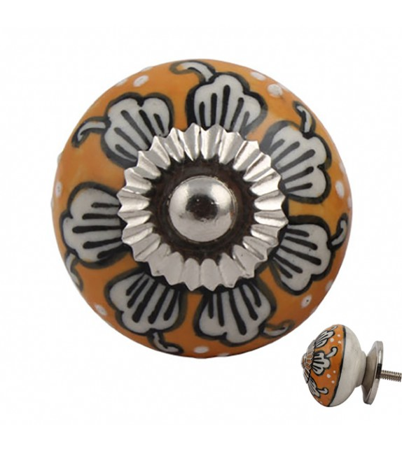 Bouton de meuble en porcelaine orange motif floral -  Marjolaine