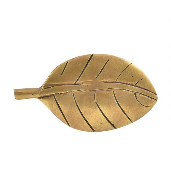 Gros bouton de porte en laiton doré Feuille - Boutons Mandarine