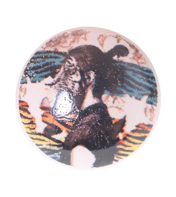 Bouton de meuble en porcelaine Homme Tigre