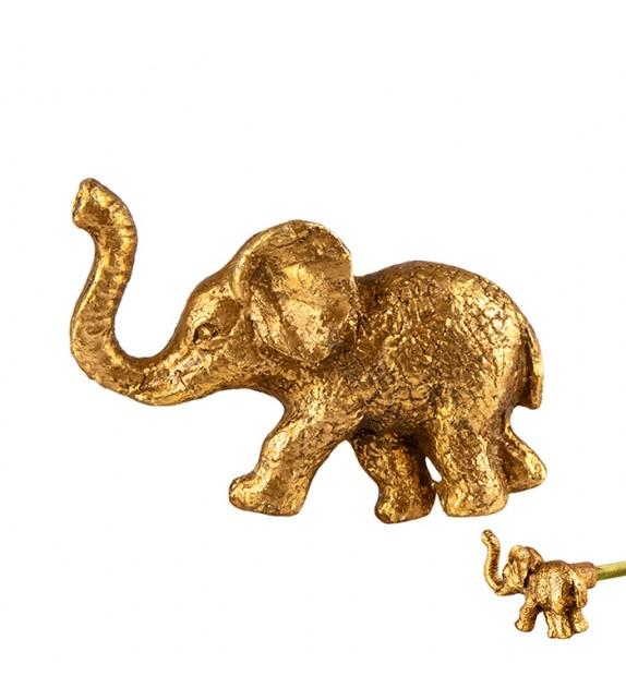 Bouton de meuble doré petit éléphant en métal