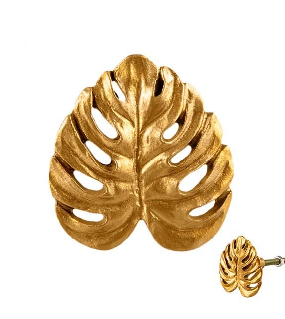 Bouton de meuble doré feuille philodendron - Boutons Mandarine
