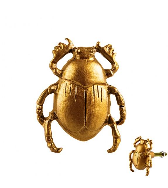 Bouton de meuble doré Scarabée en métal