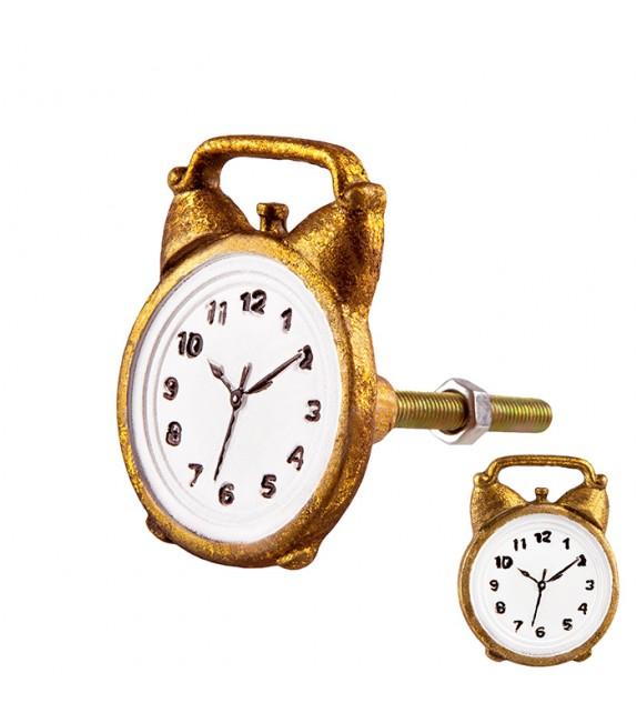 Bouton de meuble doré Réveil horloge en métal