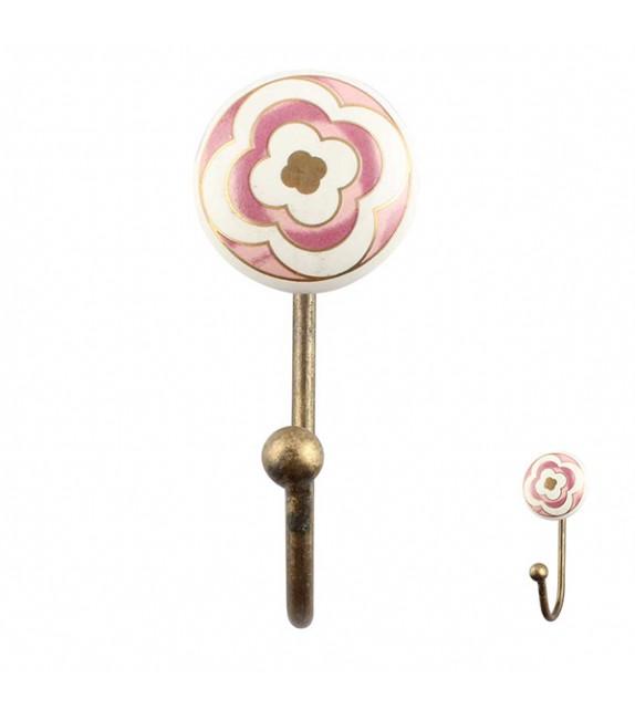 Crochet mural fleuri rose et or - 1 crochet - Boutons Mandarine