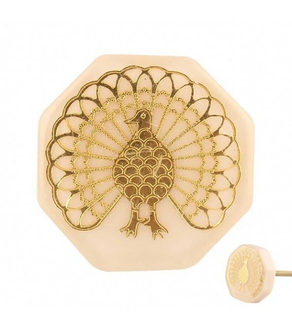 Bouton de meuble nacré Paon doré - Boutons Mandarine