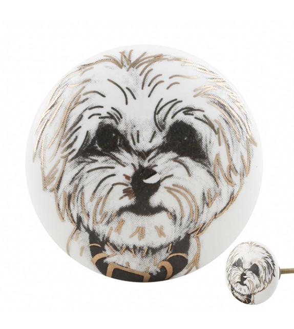 Bouton de meuble porcelaine motif chien - Boutons Mandarine