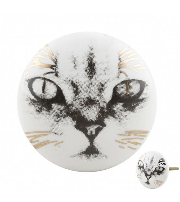 Bouton de meuble porcelaine motif chat - Boutons Mandarine