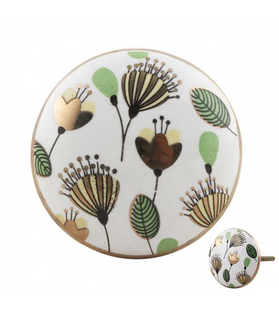Bouton de meuble porcelaine motif Champêtre - Boutons Mandarine