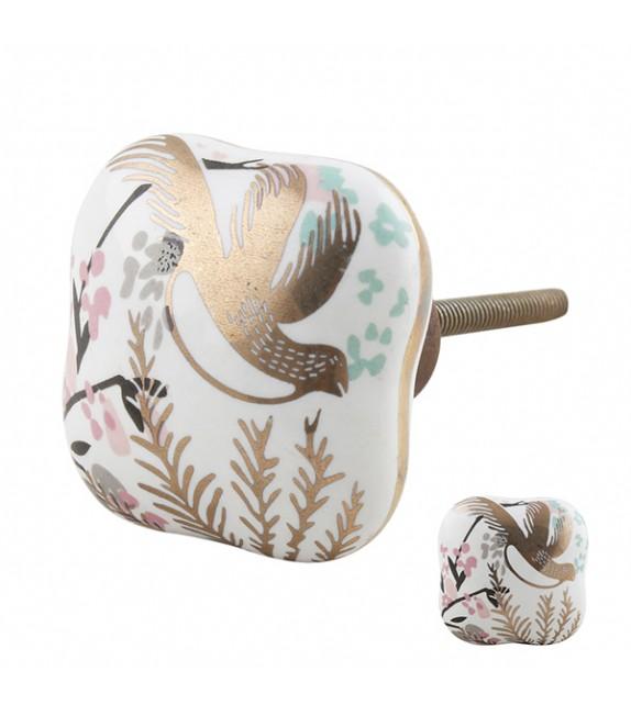 Bouton de meuble porcelaine Oiseau doré - Boutons Mandarine