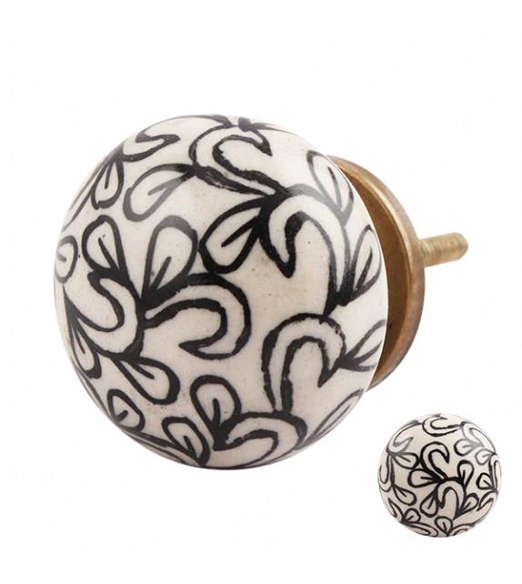 Bouton de meuble en porcelaine floral noir et crème - Boutons Mandarine