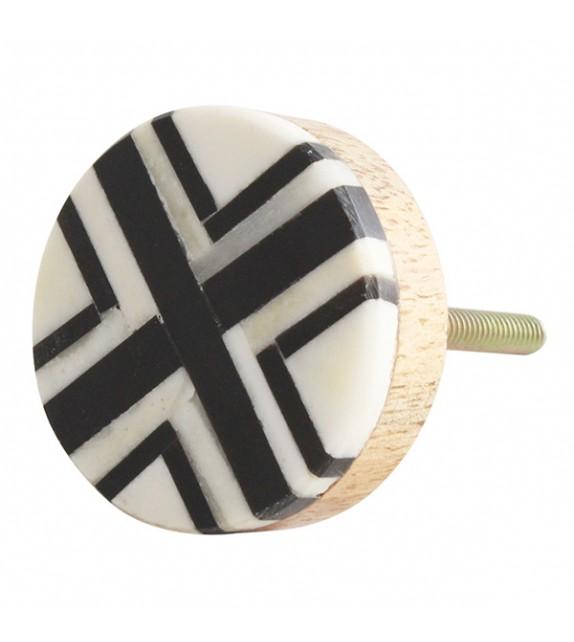 Bouton de meuble imprimé graphique bois et corne