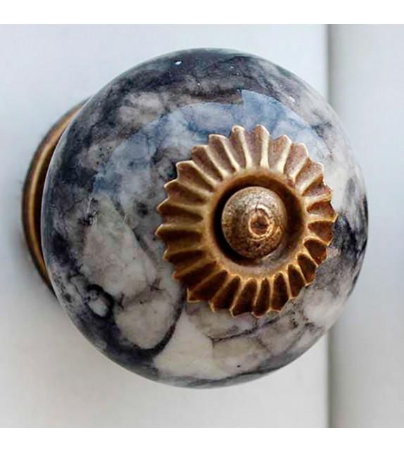 Bouton de meuble noir imitation marbre en porcelaine - Boutons Mandarine