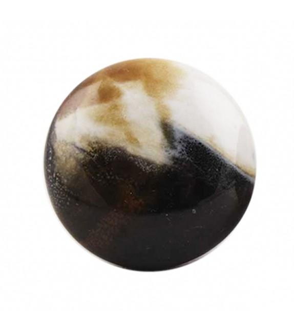 Bouton de meuble porcelaine rond et plat effet marbré - Boutons Mandarine