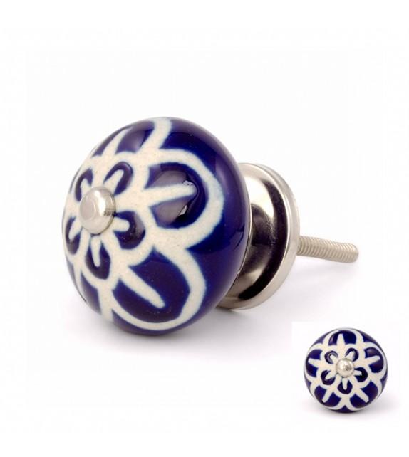 Bouton de meuble bleu marine Fleur en porcelaine - Boutons Mandarine