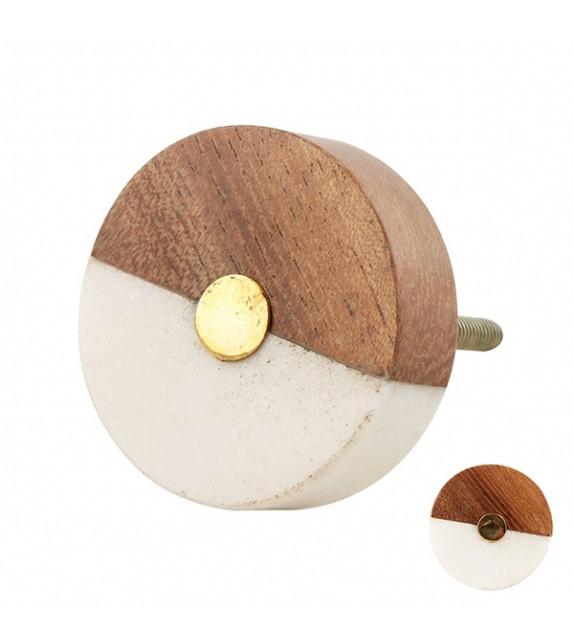 Bouton de meuble rond face bois et pierre - Boutons Mandarine