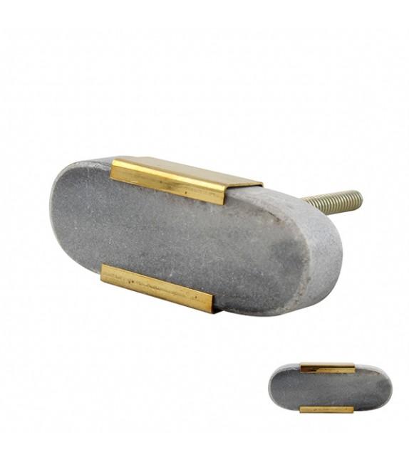 Bouton de meuble Pierre grise et métal doré - Boutons Mandarine