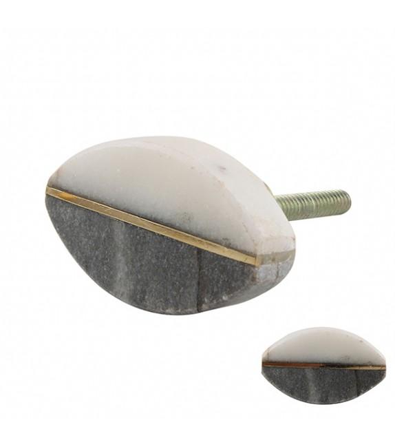 Bouton de meuble pierre grise et blanche ovale - Boutons Mandarine