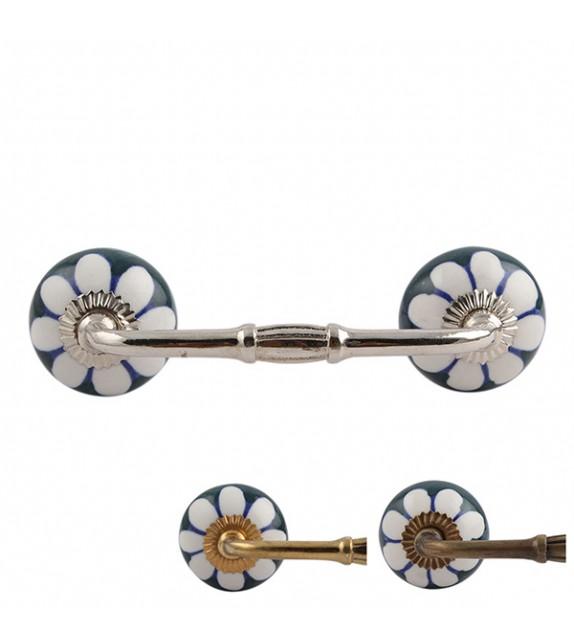 Poignée de meuble porcelaine et métal Fleur Stéphanys - Boutons Mandarine