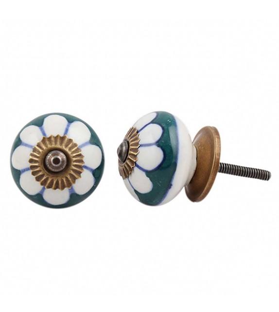 Bouton de meuble porcelaine Fleur vert foncé - Boutons Mandarine