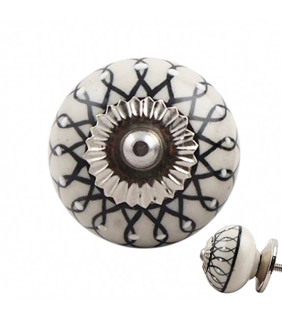 Bouton de meuble porcelaine Mandala noir - Boutons Mandarine