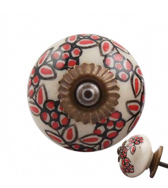 Bouton de meuble procelaine couronne de fleur rouge - Boutons Mandarine