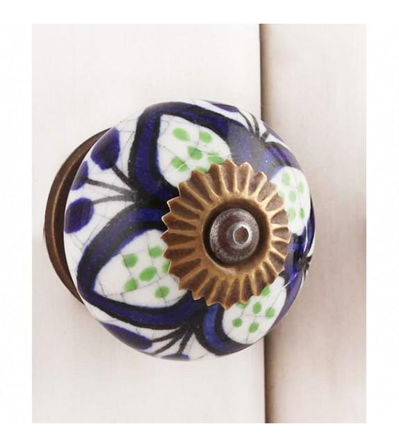 Bouton de meuble porcelaine grande fleur marine - Boutons Mandarine