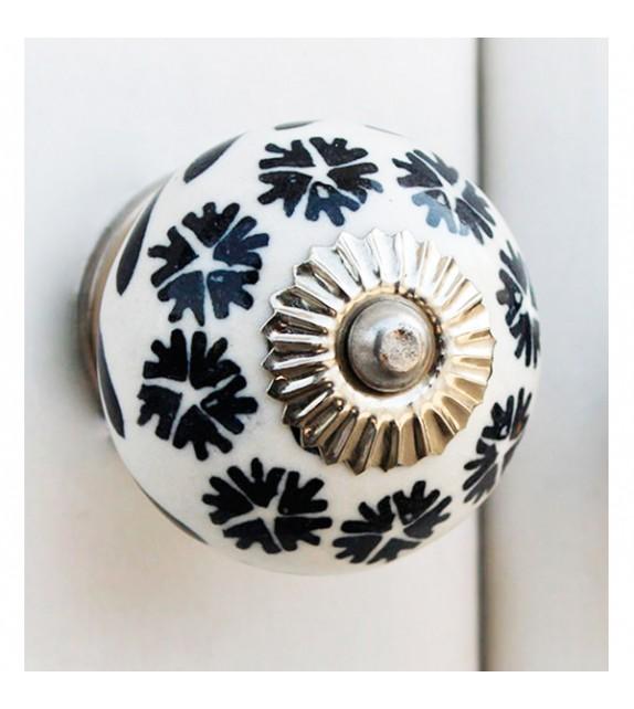 Bouton de meuble en porcelaine couronne de fleurs noires