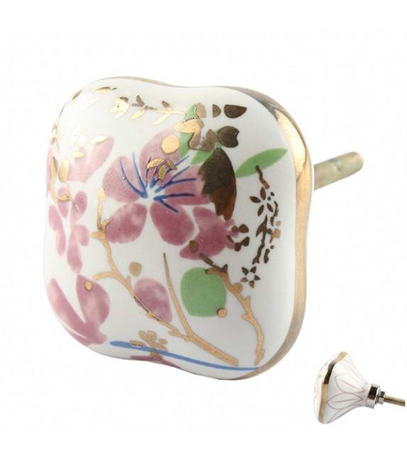 Bouton de meuble carré en porcelaine Fleurs de Printemps - Boutons Mandarine