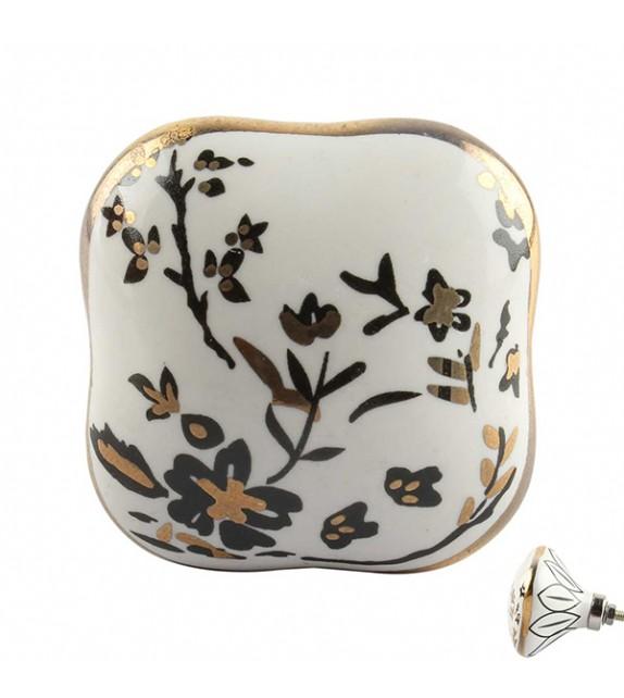 Bouton de meuble carré en porcelaine décor d'Automne - Boutons Mandarine
