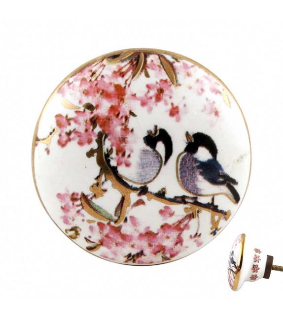 Bouton de meuble en porcelaine petits oiseaux et décor rose - Boutons Mandarine