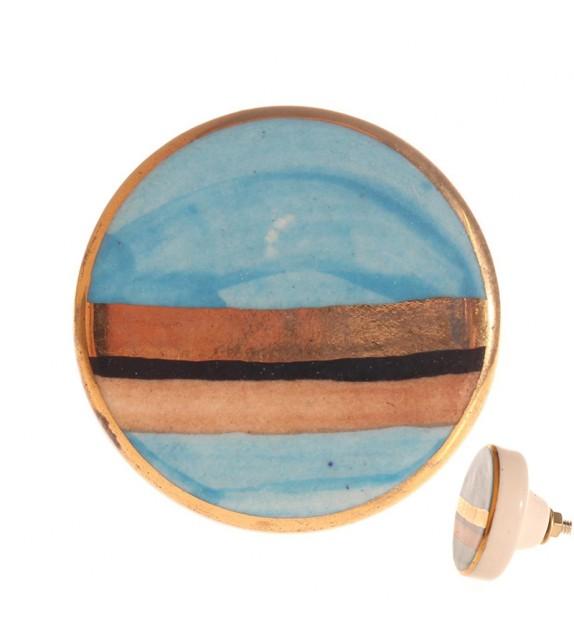 Bouton de meuble en porcelaine Panorama bleu - Boutons Mandarine
